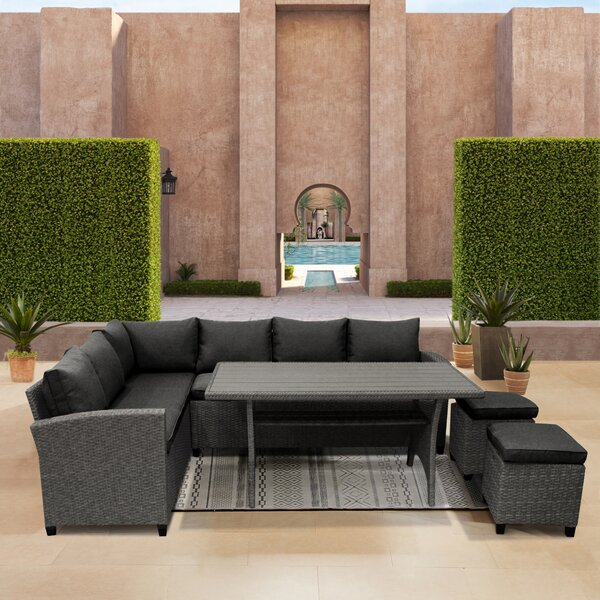 Squad Goals 5 Piece Rattan Sofa Seating Group with Cushions by Latitude Run