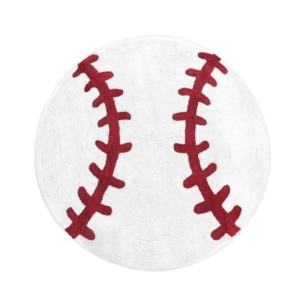 Baseball Patch Cotton Red/White Area Rug by Sweet Jojo Designs