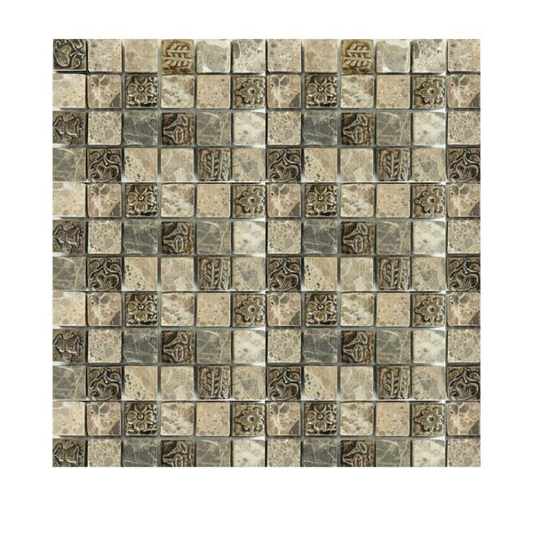1 x 1 Glass Mosaic Tile in Brown/Ivory by QDI Surfaces