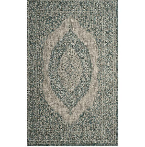 Myers Light Gray/Teal Indoor/Outdoor Area Rug by Mistana