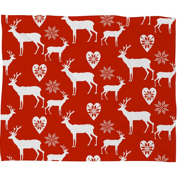 Natt Christmas Deer Plush Fleece Throw Blanket by Deny Designs