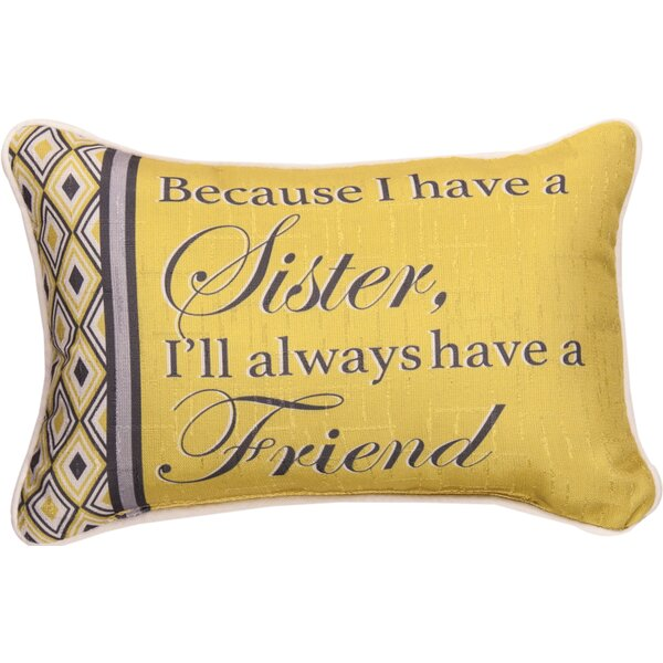 Because Sister... Best Friend - Word Lumbar Pillow by Manual Woodworkers & Weavers