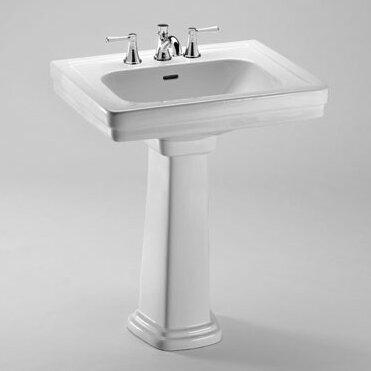 Promenade Vitreous China Rectangular Pedestal Bathroom Sink with Overflow