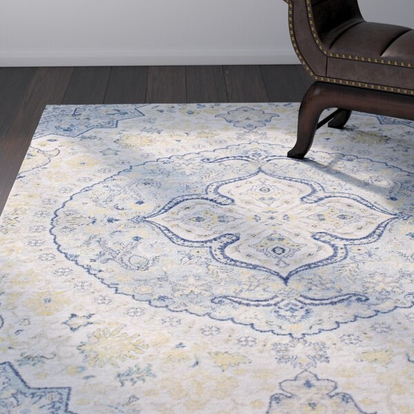 Arteaga Traditional Vintage Persian Medalion Oriental Blue/Cream Area Rug by Bungalow Rose