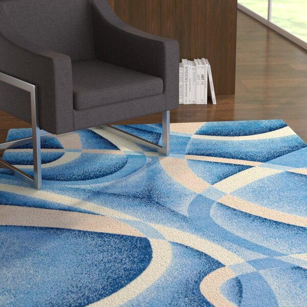 Squires Swirls Abstract Blue Area Rug by Ebern Designs
