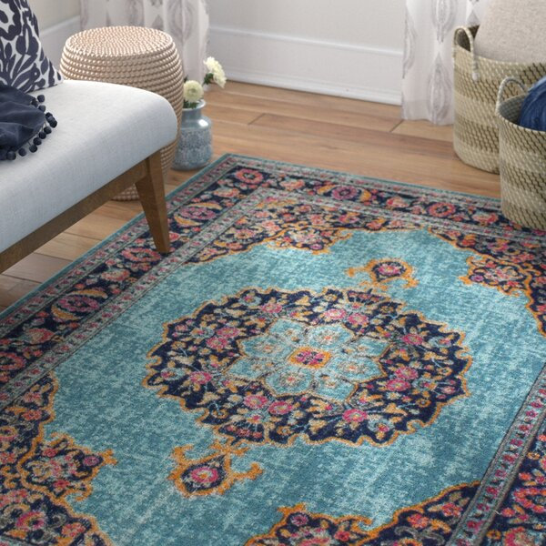 Ashburn Teal Area Rug by Bungalow Rose