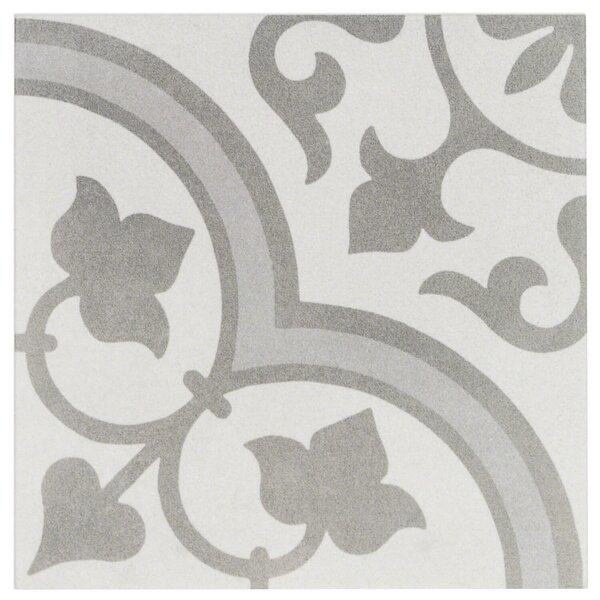 Sintra Ornate 9 x 9 Porcelain Field Tile in Matte Silver by Splashback Tile