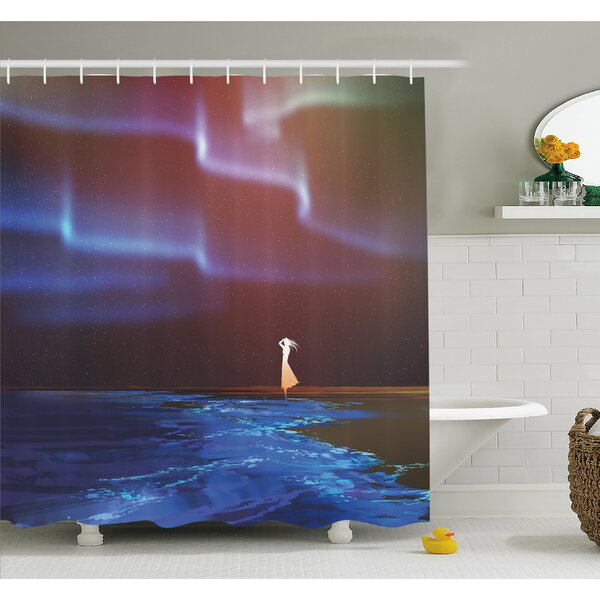 Beach Psychedelic Northern Lights Sky Star Picture Print Shower Curtain Set by East Urban Home