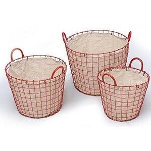 oval urban style metal 3 piece laundry basket set
