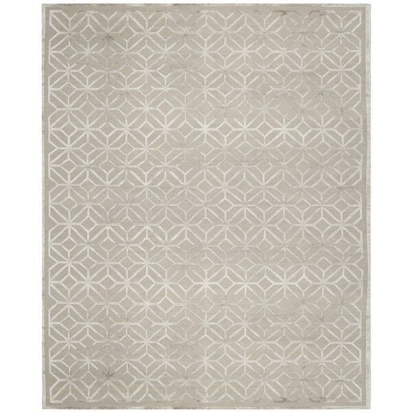Flippen Hand-Knotted Gray Area Rug by Everly Quinn