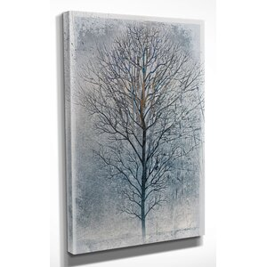 'Silver Tree II' by Mike Calascibetta Graphic Print on Wrapped Canvas by Wexford Home