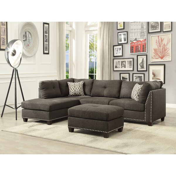 Draco Sectional Sofa and Ottoman by Alcott Hill