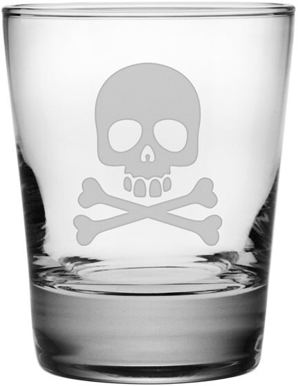 Skull & Crossbones Double Old Fashioned Glass (Set of 4) by Susquehanna Glass