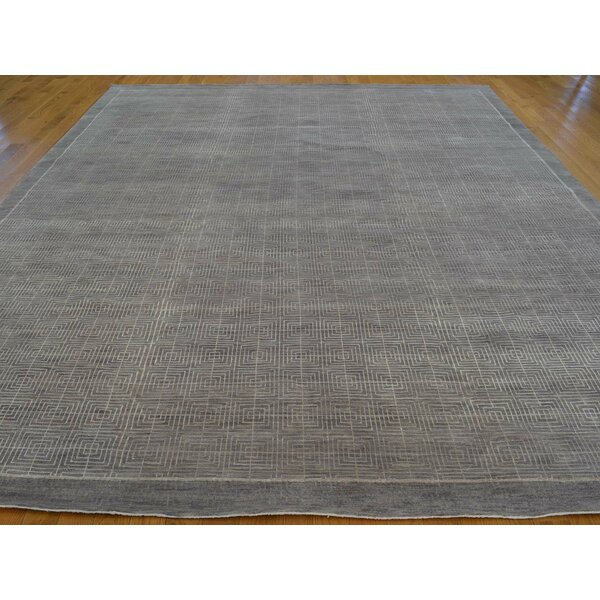 One-of-a-Kind Beltrami Hand-Knotted Grey Wool/Silk Area Rug by Isabelline