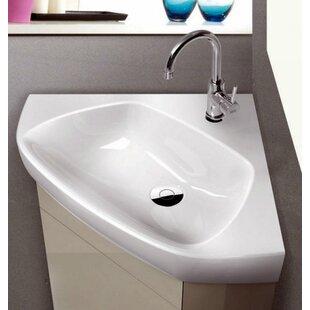 Read Reviews Arda Ceramic 26 Corner Bathroom Sink ByCeraStyle by Nameeks