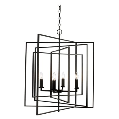 Yarnell 4-Light Square/Rectangle Chandelier by Mercury Row