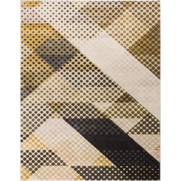 Devanna Modern Abstract Scrolls Yellow/Gray Area Rug by Ebern Designs