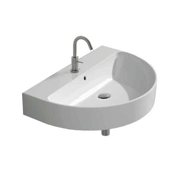 Normal Ceramic 28 Wall Mount Bathroom Sink with Overflow by WS Bath Collections