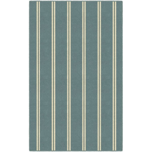 Lisbeth Traditional Vertical Striped Blue Area Rug by Highland Dunes