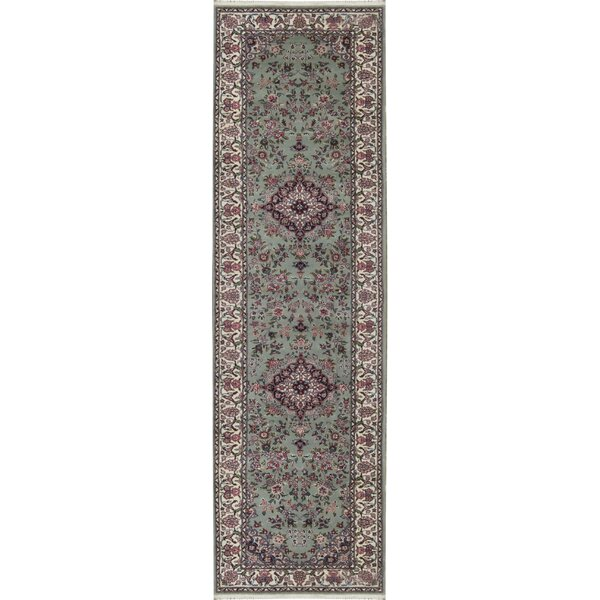 Runner Oriental Hand-Knotted Light Green/Navy Area Rug
