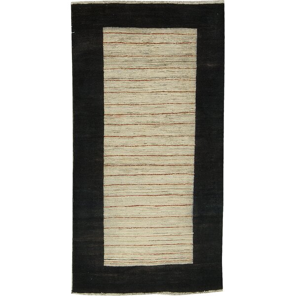 One-of-a-Kind Afghan Hand-Knotted Wool Black/Tan Area Rug by Bokara Rug Co., Inc.