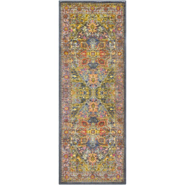 Landers Traditional Lime/Bright Yellow Area Rug by Bloomsbury Market
