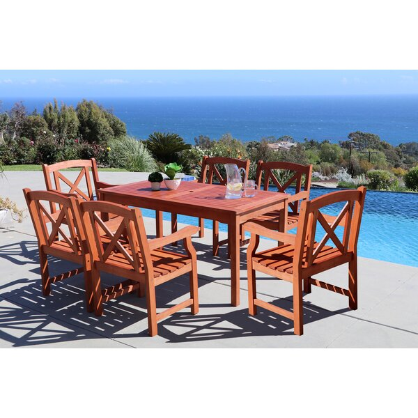Monterry 7 Piece Wood Outdoor Dining Set by Beachcrest Home
