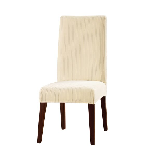 Stretch Pinstripe Dining Chair Slipcover by Sure F