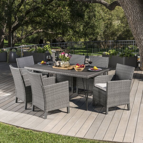 Luray Outdoor Wicker 7 Piece Dining Set with Cushions by Orren Ellis