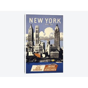 'New York - Aer Lingus Irish International Airlines' Vintage Advertisement on Wrapped Canvas by East Urban Home