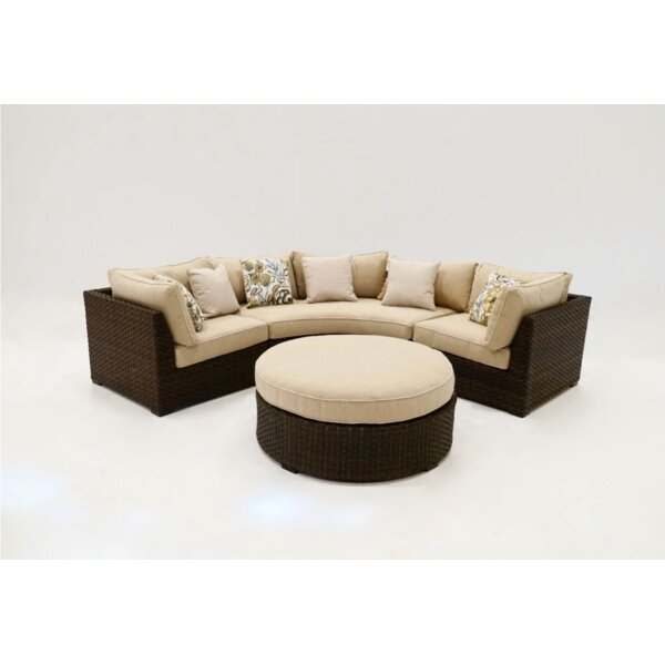 Alfornia 4 Piece Patio Sectional Seating Group with Cushions by Latitude Run