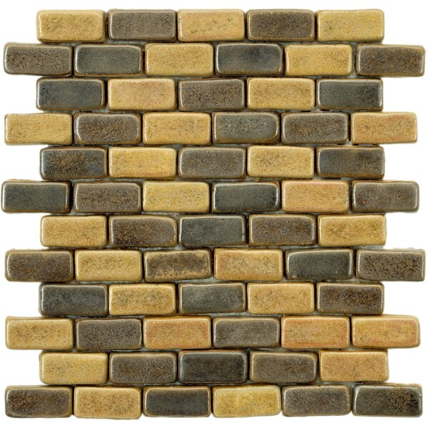 Greenwich Brick 0.88 x 1.88 Ceramic Mosaic Tile in Chocolate Brown/Ochre by EliteTile