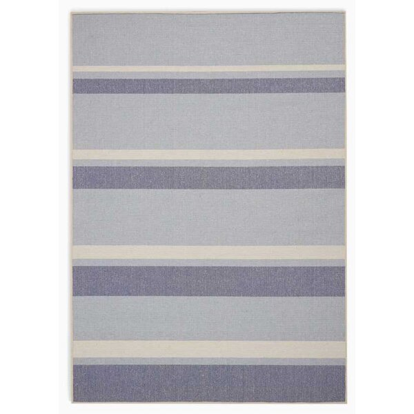 San Diego CK730 Striped Handwoven Flatweave Light Blue Area Rug by Calvin Klein