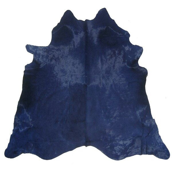 Dyed Hand Woven Cowhide Blue Area Rug by Pergamino