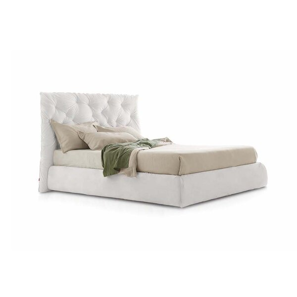 Impunto Upholstered Platform Bed with Tufted Headboard by Pianca USA