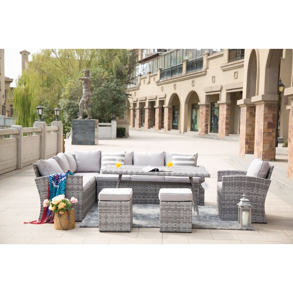 Broome Outdoor 6 Piece Sectional Seating Group with Cushions by Bungalow Rose