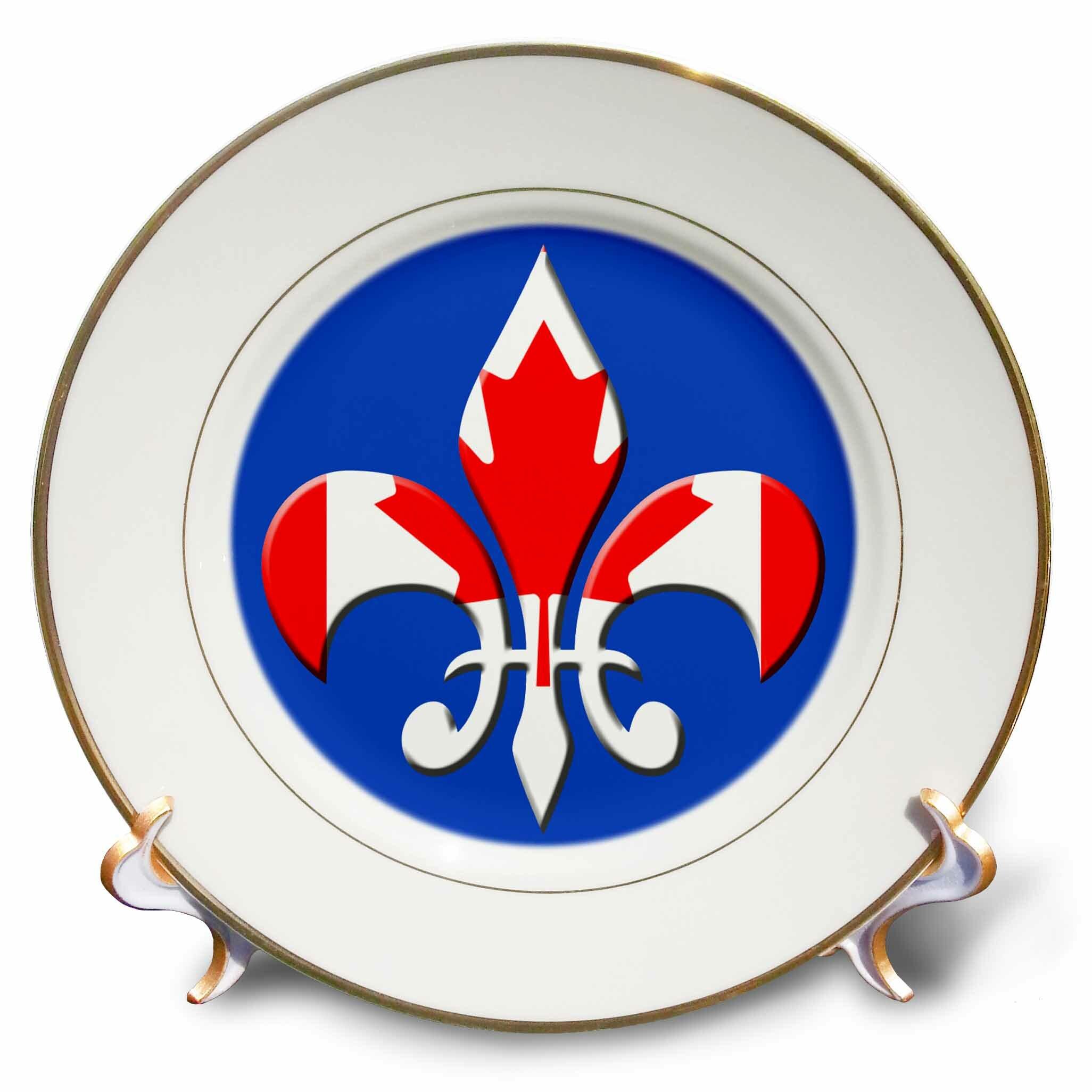 Large Fleur De Lis With Canadian Flag Overlay Porcelain Decorative Plate