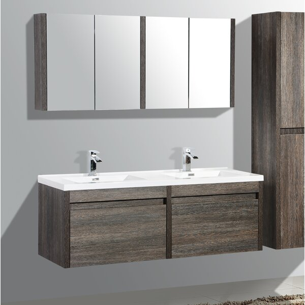Rosas 59 Wall-Mounted Double Bathroom Vanity by Wrought Studio