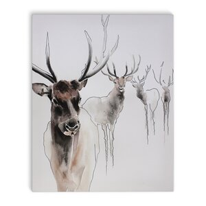 'Winter Elks' Graphic Art Print on Canvas by Union Rustic