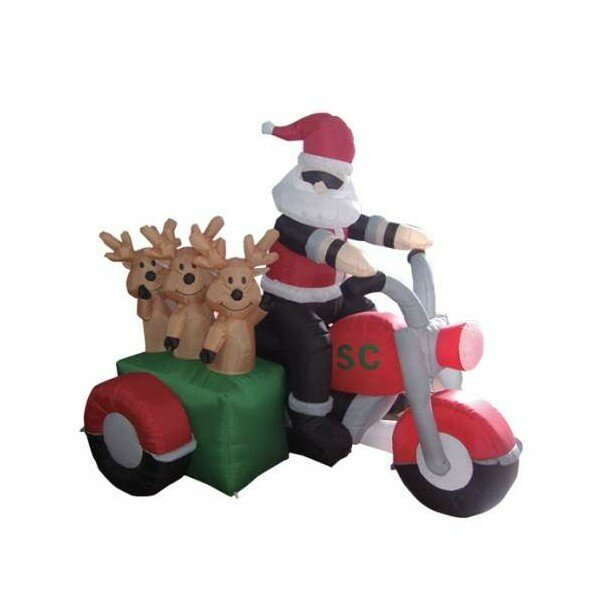 Christmas Inflatable Santa Claus Driving Motorcycle with 3 Reindeer Decoration by The Holiday Aisle