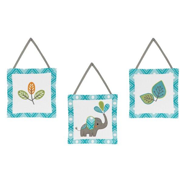 Mod Elephant 3 Piece Hanging Art Set by Sweet Jojo Designs