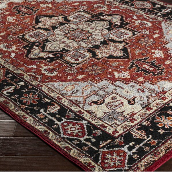 Brahim Gray/Red Area Rug by World Menagerie
