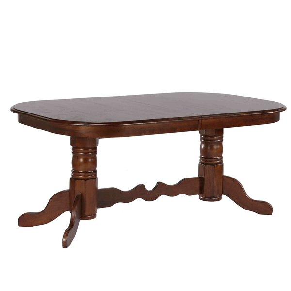 Lockwood Double Pedestal Extendable Solid Wood Dining Table by Loon Peak