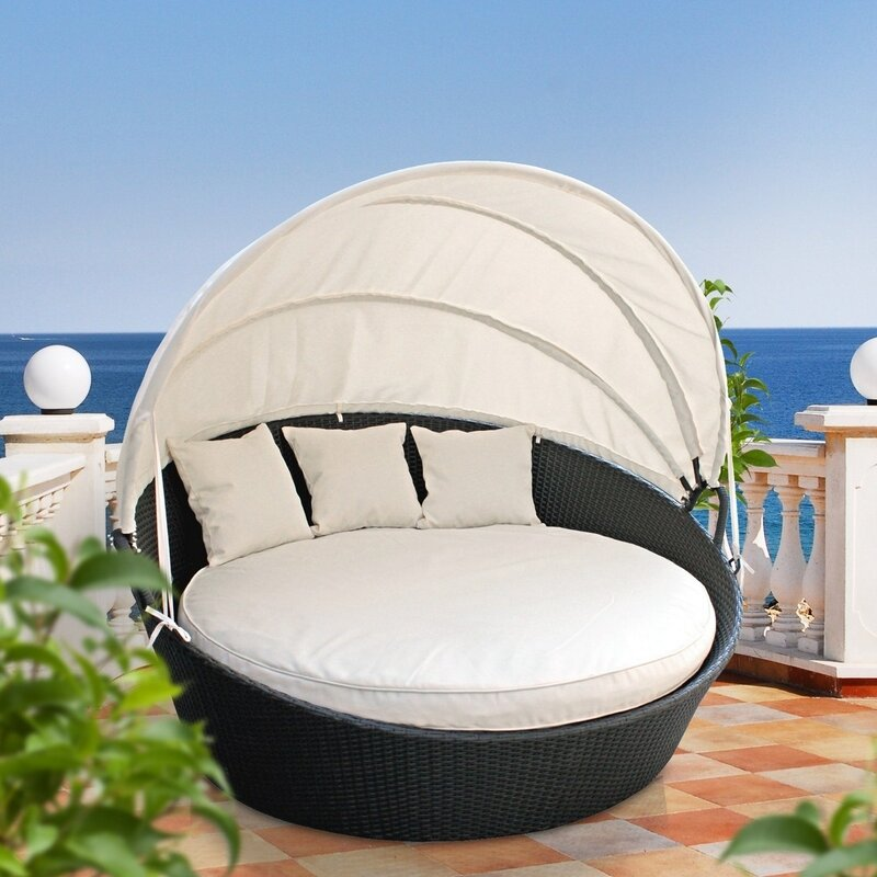 Delightful Holden Canopy Outdoor Patio Daybed With Cushions