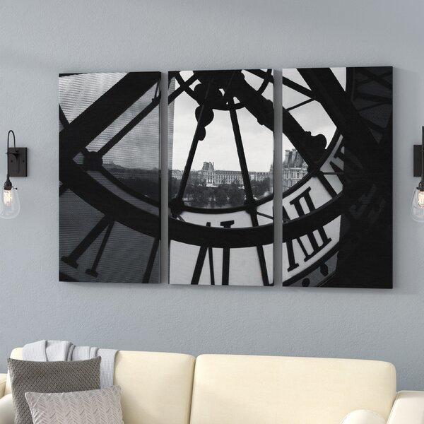 Clock Tower In Paris 3 Piece Photographic Print on Canvas Set by Trent Austin Design
