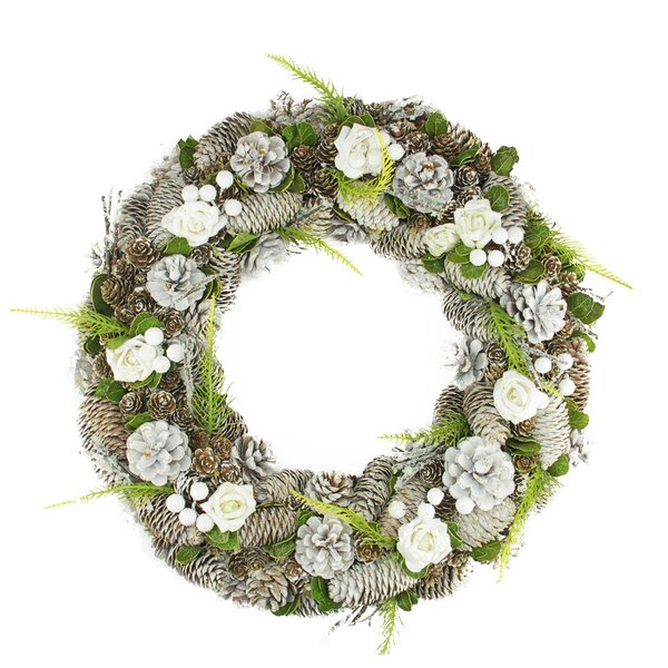 Pine Cone, Roses and Twigs Artificial Christmas Wreath by Northlight Seasonal