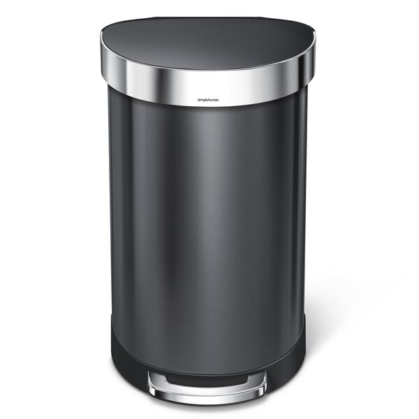 45 Liter Semi-Round Step Trash Can Stainless Steel by simplehuman