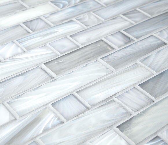 Antartic Vidin Random Sized Glass Mosaic Tile in White by Tile Focus