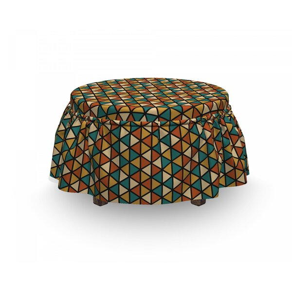 Grid Triangles Ottoman Slipcover (Set Of 2) By East Urban Home