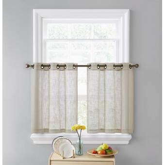 Ebern Designs Essoura Textured Solid Kitchen Tier Curtain Reviews Wayfair